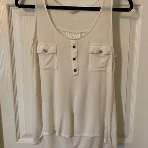 White tank top with silver buttons